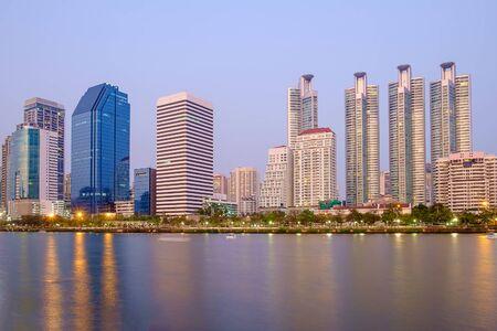 benjakitti: Bangkok city downtown at night with reflection of skyline, Bangkok,Thailand