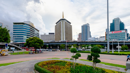 silom: Bangkok, Thailand - May 25, 2016: Hotel area in downtown Bangkok with Silom station in the foreground. Silom is a central business area which also attracts tourists in Bangkok.