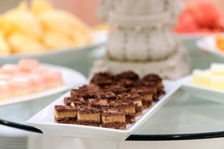 Cake with chocolate. Shallow dof