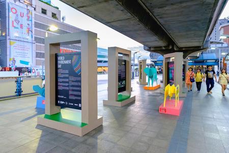 Bangkok, Thailand - June 9, 2016: World Environment Day exhibition at Bangkok Sky Train or BTS, Nation Stadium Station and Front of MBK Shopping Mall at Bangkok Thailand.