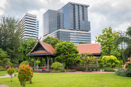 lumpini: Bangkok, Thailand - June 10, 2016: Lumpini park with H.M.Queen Sirikit Building in Chulalongkorn hospital background. Editorial