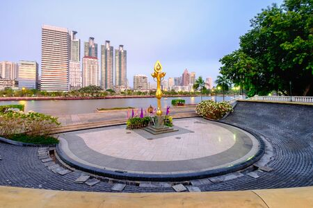 Bangkok, Thailand - April 25, 2016: Bangkok cityscape twilight at benjakitti public park on midtown bangkok thailand with high rise building of residential and business center. Editorial