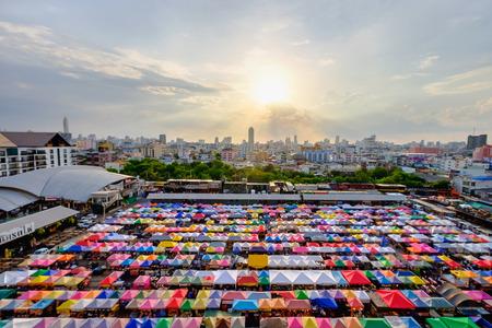 Bangkok, Thailand - May 26, 2015: Night market train a second-hand market, back of Esplanade Ratchadapisek Department store