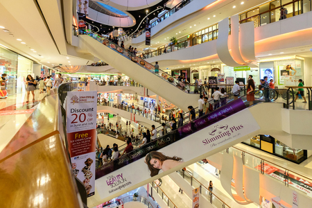 Bangkok Thailand - June 5, 2016: CentralPlaza Rama 9, the most recent addition of CentralPlaza brand in Bangkok, sits amidst the bustling intersection of Rama9. Editorial