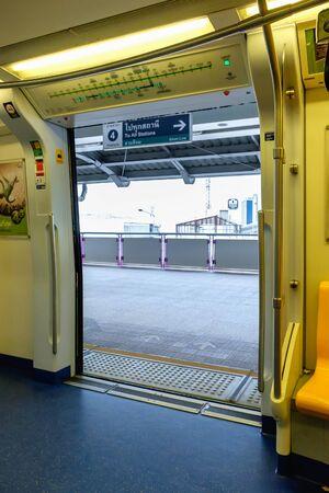 Bangkok, Thailand - June 18, 2016: Public Transportation in bangkok. Skytrain  BTS elevated rails in on Feb 27, 2014 in Bangkok. Editorial