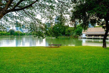 actividades recreativas: Una vista del lago del parque Lumpini en Bangkok. Lumpini Park ofrece muchas actividades recreativas para los ciudadanos junto con el lugar para ayudar a los niños sin hogar en Bangkok.