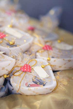 Souvenir pretends heart shape guest attending the wedding, retro effect and Selective focus point.