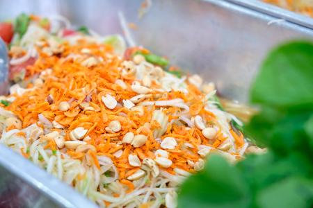 long bean: Green papaya salad Thai cuisine spicy delicious :  SOM TAM  Thai speak Stock Photo