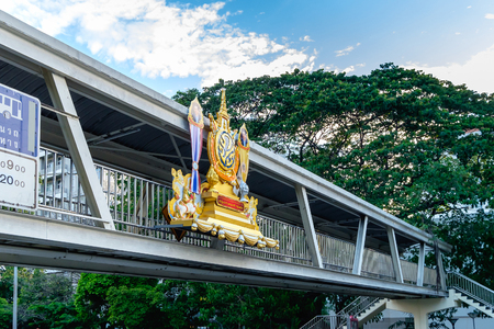 accession: Bangkok, Thailand - June 9, 2016: Logo, The 70th Anniversary Celebrations of King Bhumibol Adulyadejs Accession to the Throne, was decorated in Bangkok Thailand.