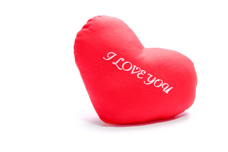 Red heart with I Love You text on white background.