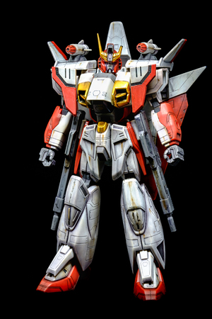 Bangkok, Thailand - July 25, 2016: Plastic model of Gundam Air Master from After war Gundam X, Mobile suit Japanese anime  series with weathering on black background.