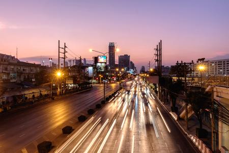 Bangkok, Thailand - March 10, 2017: View of Traffic jam at dusk in Klong Toey Road, Klong Toey district, Bangkok, Thailand.