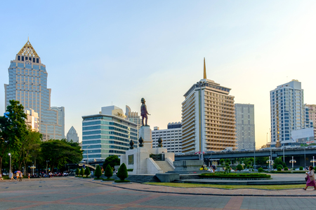 Bangkok, Thailand - January 21, 2015: Lumpini park in Bangkok Thailand, Lumpini Park have The King rama 6 Sculpture covers 142 acres with 2.5 km of pathways and a large boating lake in Thailand.