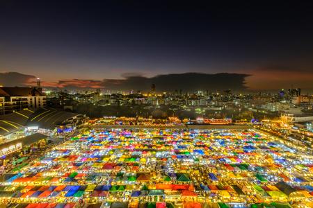 Bangkok, Thailand - March 19, 2017: Night market train a second-hand market, back of Esplanade Ratchadapisek Department store. Editorial