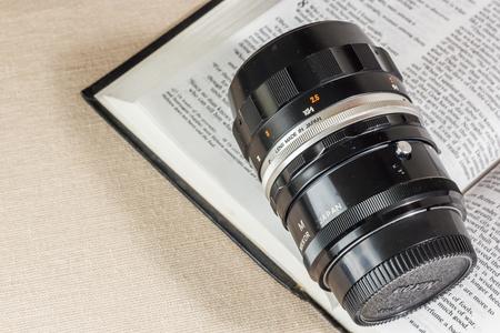 Bangkok, Thailand - October 4, 2014: Micro NIKKOR Old film camera manual focus lens with Extension Tube