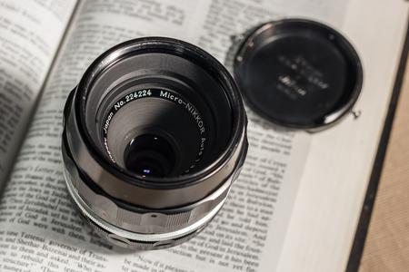 Bangkok, Thailand - October 4, 2014: Micro NIKKOR Old film camera manual focus lens Editorial
