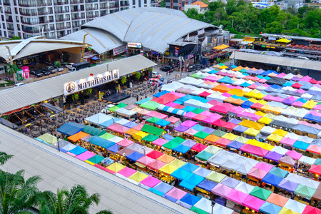 Bangkok, Thailand - June 9, 2017: Night market train a second-hand market, back of Esplanade Ratchadapisek Department store Editorial