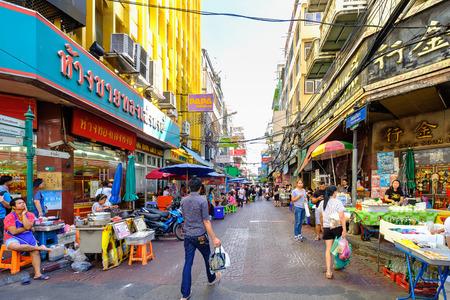 Bangkok, Thailand - August 13, 2017: Local people shopping at the street food market of the famous Chinatown at Yaowarat road in Bangkok
