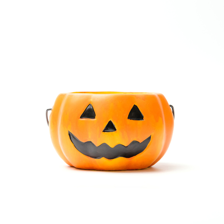 Halloween pumpkin Jack-o-lantern glass jar