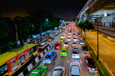 Bangkok, Thailand - October 10, 2017: Traffic jam in city center in Bangkok, Thailand. Annually an estimated 150,000 new cars join the heavily congested streets of the Thai capital.