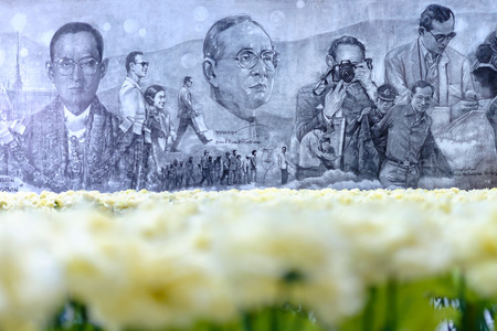 Bangkok, Thailand - October 5, 2017: To pay final tribute to HM King Bhumibol Adulyadej, CentralWorld is holding many exhibitions and related activities under the Still On My Mind theme throughout October. Editorial