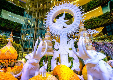 Bangkok, Thailand - October 10, 2017: Memorial exhibitions at Siam-Paragon, To mark the first anniversary of King Bhumibols passing and to commemorate his gracious kindness.