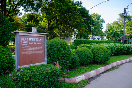 Bangkok, Thailand - October 28, 2017: Front of city park at Wachira Benchathat Park (Rot Fai Park)