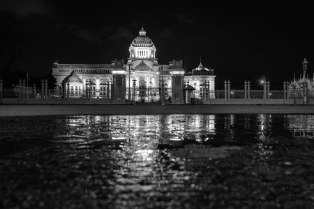 The Ananta Samakhom Throne Hall after the rain at night. The place is a royal reception hall within Dusit Palace in Bangkok, Thailand. It was commissioned by King Chulalongkorn in 1908.