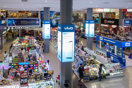 Bangkok, Thailand - November 11, 2017: Pantip Plaza is the mother of all IT shops in Thailand and has gained legendary status as the place to find new and used computers.