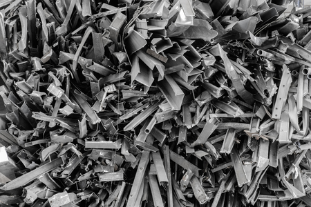 Textures of Scrap iron, which is cut and layered to be used in the future.
