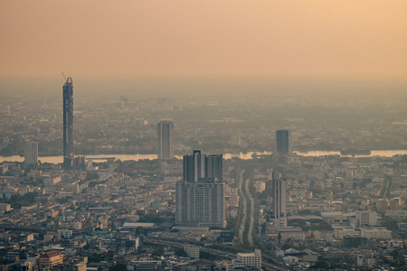 Air pollution from Lots of dust or PM2.5 particle exceeds the standard at Bangkok city, Thailand. Negative effect on Respiratory system and health.