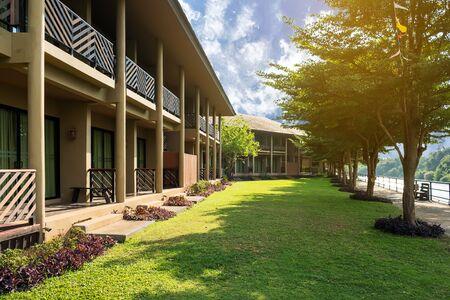 Resort is nestled between rice paddies, gentle waters and lush greenery Zdjęcie Seryjne