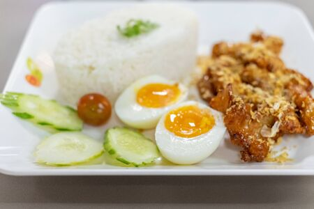Fried Chicken with Garlic Pepper and boiled egg on Rice, Thai style food Zdjęcie Seryjne