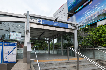 Bangkok, Thailand - Aug. 30, 2018: View of Khlong Toei MRT Station Entrance on Rama IV Road. The Metropolitan Rapid Transit or MRT is a rapid transit system serving the Bangkok Metropolitan Region.