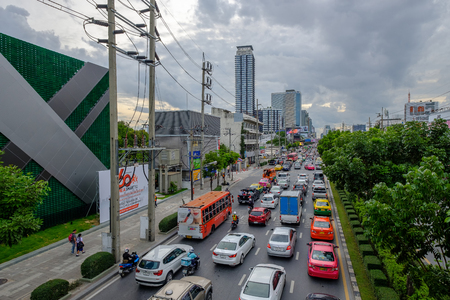 Bangkok, Thailand - August 30, 2018: Traffic jam in city center in Bangkok, Thailand. Annually an estimated 150,000 new cars join the heavily congested streets of the Thai capital. Editöryel