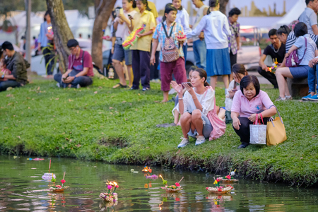 Bangkok, Thailand - November 22, 2018: Loy Kratong Festival celebrated during the full moon of the 12th month in the traditional Thai calendar, to pay respect to water spirits in Bangkok
