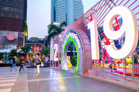 Bangkok, Thailand - January 7, 2019: New Year 2019 Celebration event at CentralWorld Shopping Mall in Bangkok, Thailand. Фото со стока - 124999364