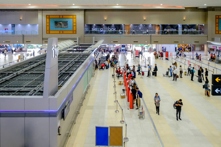 Bangkok, Thailand - August 3, 2018: View of Don Mueang International Airport Terminal 2 for domestic flights.