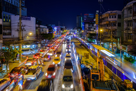 Bangkok, Thailand - December 18, 2018: Construction of MRT to begin in Lat Phrao, home of Bangkok's hellish traffic.