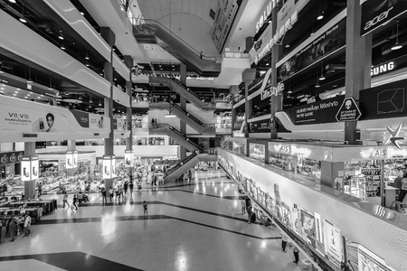 Bangkok, Thailand - Sep. 18, 2018: Pantip Plaza is the mother of all IT shops and has gained legendary status as the place to find new and used computers. The most famous Bangkok electronics mall.