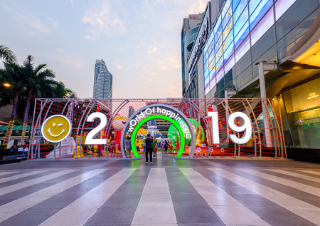 Bangkok, Thailand - January 7, 2019: New Year 2019 Celebration event at CentralWorld Shopping Mall in Bangkok, Thailand. 에디토리얼