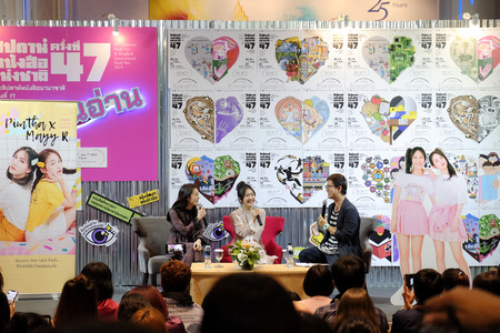 Bangkok, Thailand - March 31, 2019: Pimtha and Mayy, Net Idol on Youtube give an interview in Book launch, National Book Fair of Bangkok 2019.