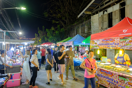 Nakhon Ratchasima, Thailand - March 15, 2019: This is Sikhio night market a famous night market where many people come to try Thai food and go shopping in Korat, Thailand