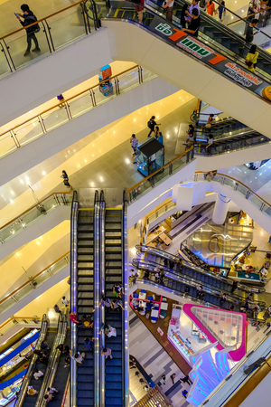 Bangkok Thailand - March 7, 2019: CentralPlaza Rama 9, the most recent addition of CentralPlaza brand in Bangkok, sits amidst the bustling intersection of Rama 9