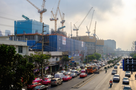 Bangkok, Thailand - February 1, 2019: Air pollution from Lots of dust or PM2.5 particle exceeds the standard at Bangkok city, Thailand.
