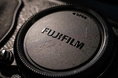 Bangkok, Thailand - February 23, 2019:  Close up, Fujifilm X-series Lens cap Publikacyjne