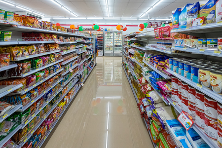 Bangkok, Thailand - March 20, 2019: The shelf at new seven eleven shop in bangkok city. seven eleven is one of largest convenience store franchise chains in Thailand.