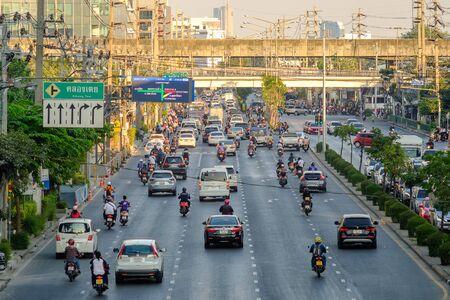 Bangkok, Thailand - January 7, 2020: A stream of cars, Traffic jam  in Bangkok, Largest city of Thailand. Stock Photo