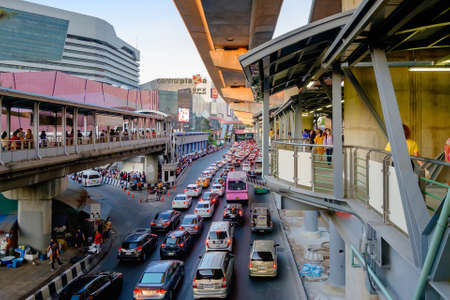 Bangkok, Thailand - February 14, 2020: Road and traffic in front of Central Ladprao, is the shopping mall of North Bangkok Thailand with new BTS station. Редакционное