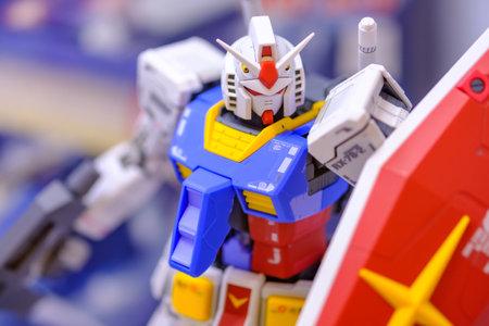 Bangkok, Thailand - Oct. 1, 2020: Gundam RX-78  figure 40th anniversary of Gunpla multiverse event Bandai spirit hobby exhibition 2020 at Siam Paragon department store